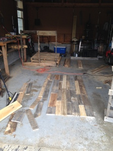 Work space and laying out the boards.